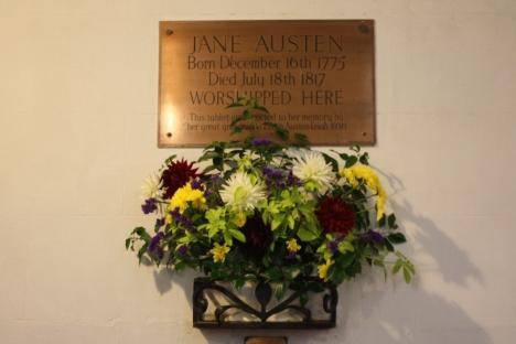 A Plaque St Nicholas Church of Steveton dedicated to Jane Austen